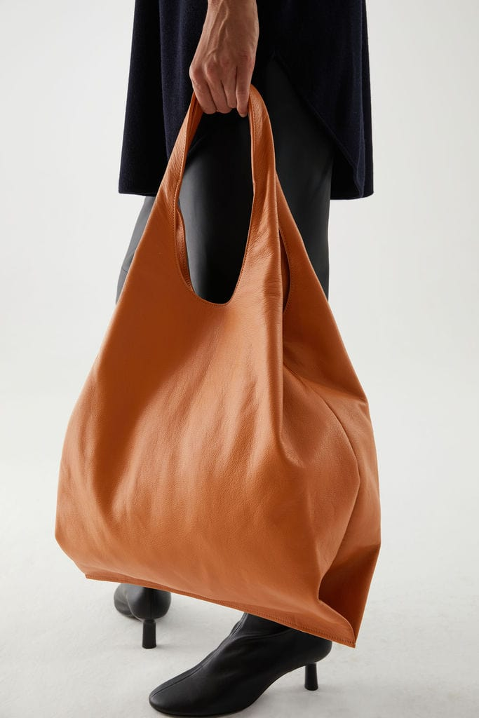 Folder Leather Shopping Bag