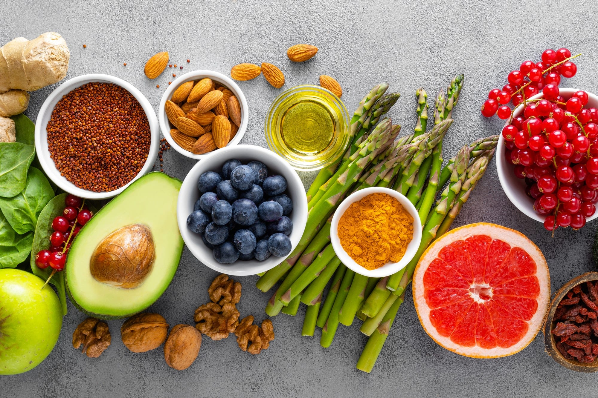 Healthy fruits, nuts, and greens