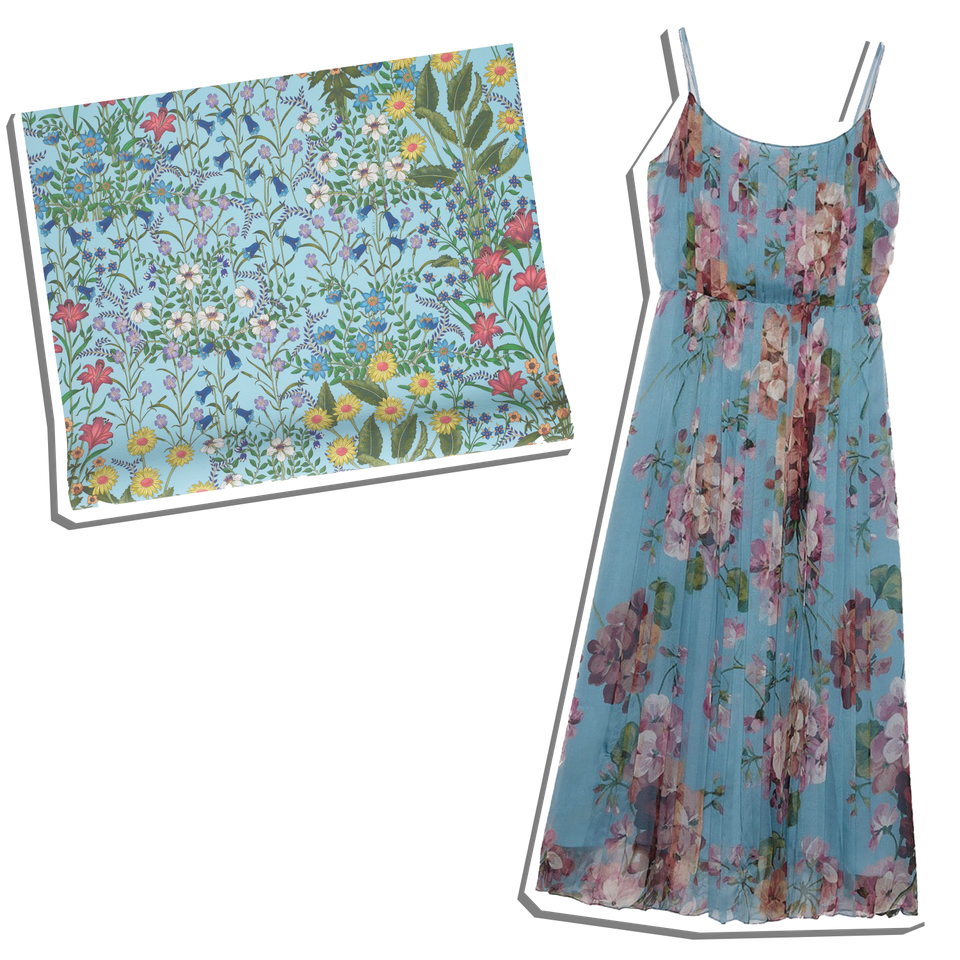 Gucci: 2015 Re-Edition Floral Chiffon Dress and New Flora Print Wallpaper