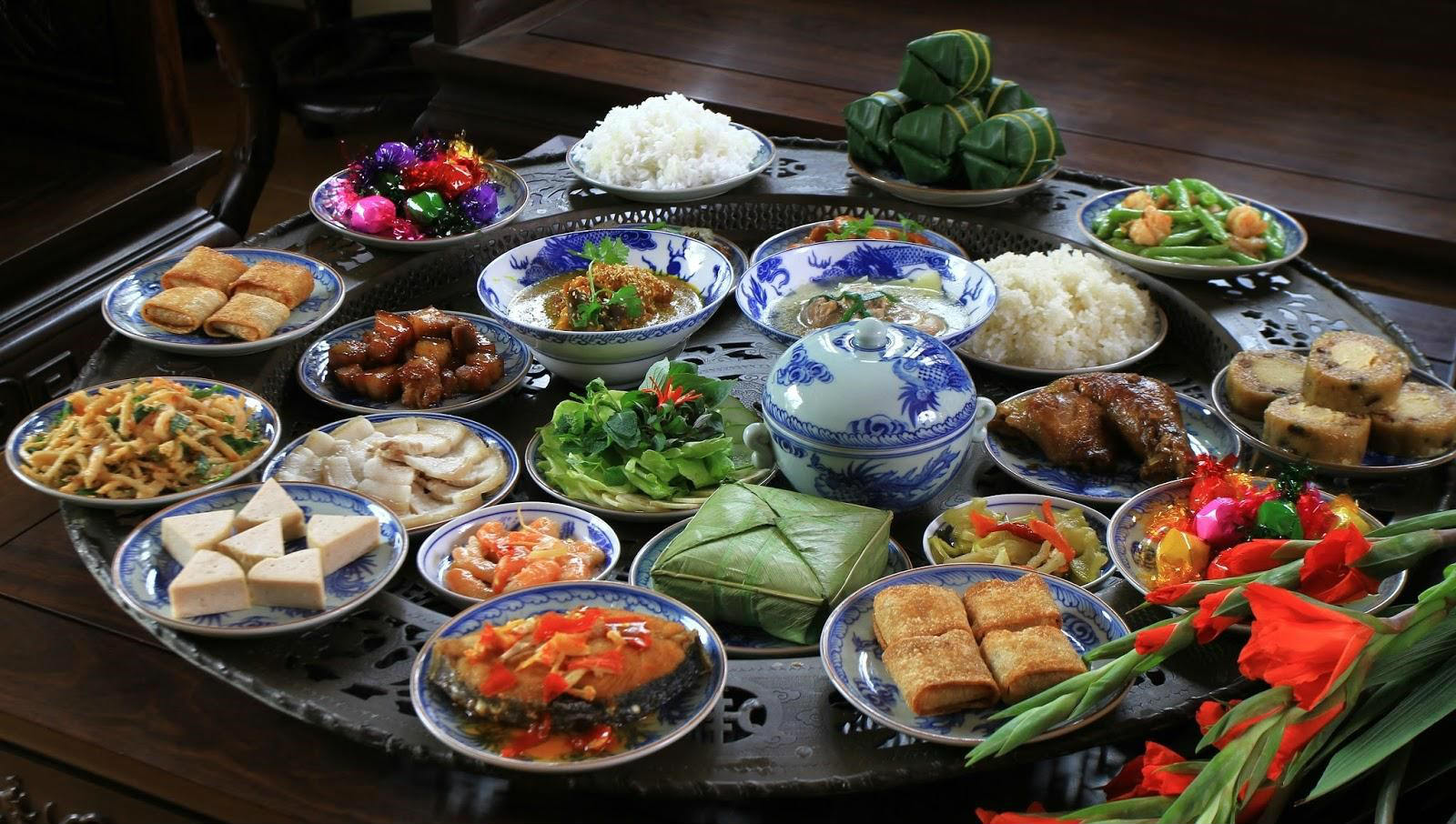A table arranged with different types of foods